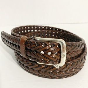 Dockers Woven Leather Belt w/ Silver Square Buckle
